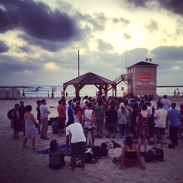 Shabbat on the beach, Tel Aviv, July 4, 2014